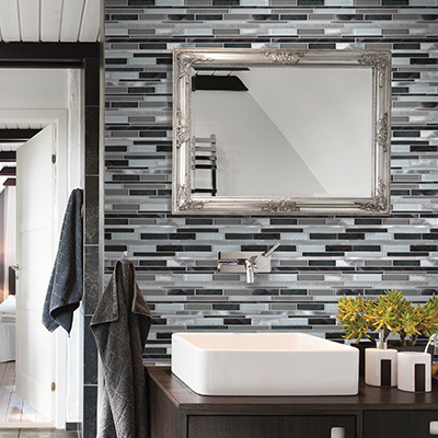 accent walls can be a stunning addition to a bathroom - Gray Tile Bathroom