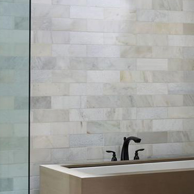 large wall tile gives the illusion that rooms are larger than they actually are - Gray Tile Bathroom