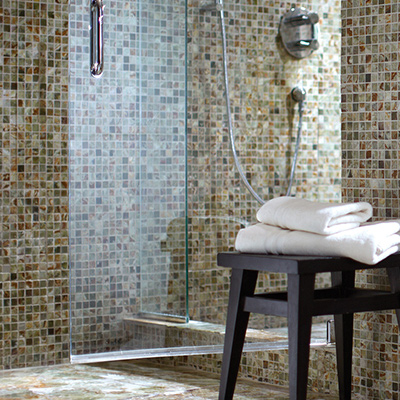 mosaic - Gray Tile Bathroom