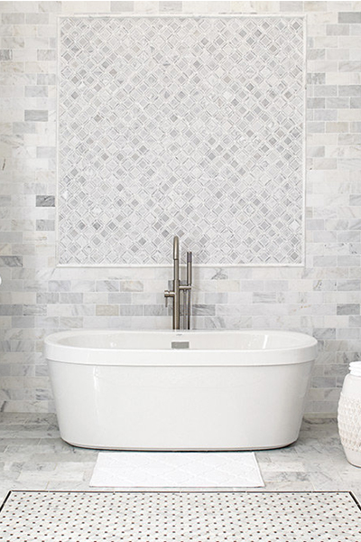Kitchen And Bath Abbotsford Marble Inspired Collection Featuring White Tile