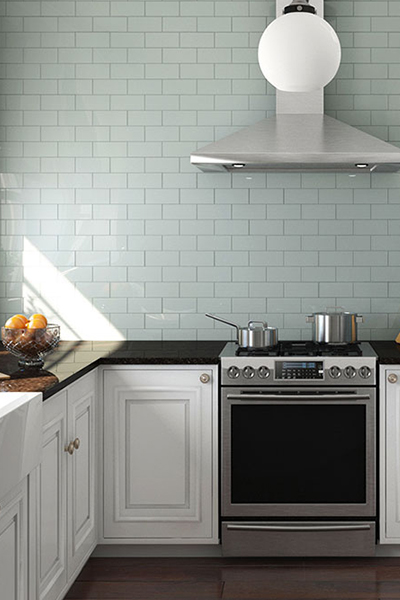 classic contrast featuring glass subway tile - Floor Tiles For Kitchen