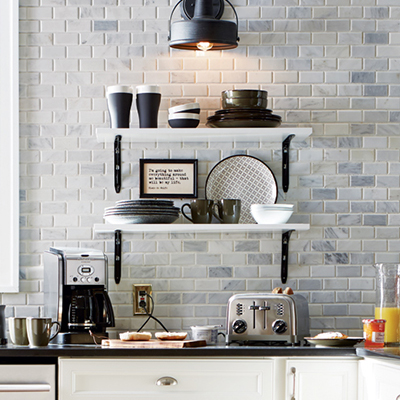 Modern Farmhouse Kitchen Feat Marble Mosaic Tile