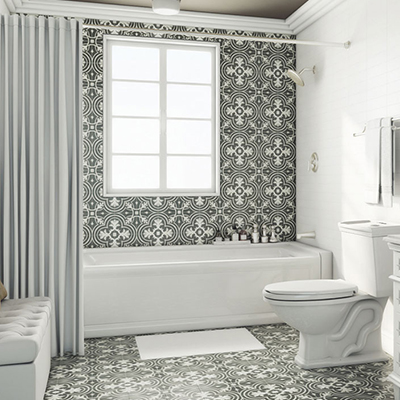 black and white floor tile. Parisian Powder Room Flooring  Wall Tile Kitchen Bath