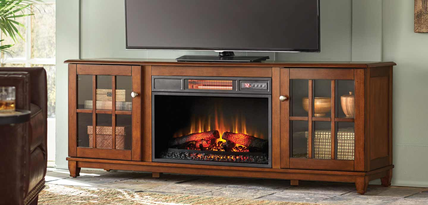 Add a charming touch to your living space this season with traditional or electric fireplace entertainment center designs from The Home Depot.