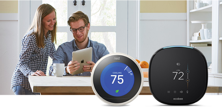 People Using Smart Thermostat on iPad