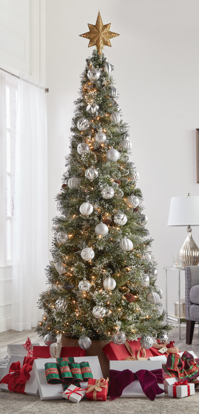 christmas decorations flocked slim christmas tree - Slim Christmas Tree Decorating Ideas