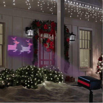 spotlights and projection project christmas graphics on your home