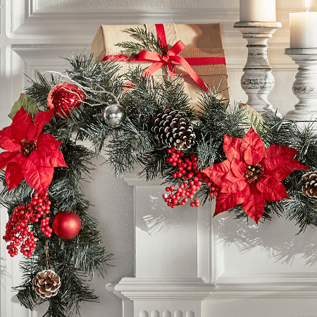 christmas garlands - Poinsettia Christmas Decorations