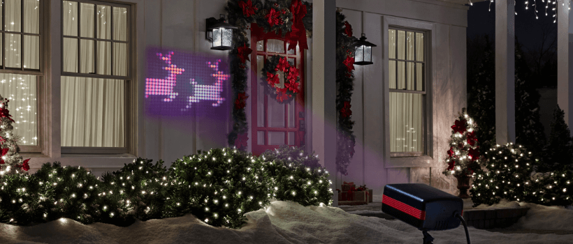 christmas spotlights projection