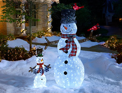 snowmen - Outdoor Lighted Christmas Decorations