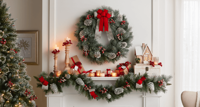 shop all pre decorated wreaths garlands - Garland Christmas Decor