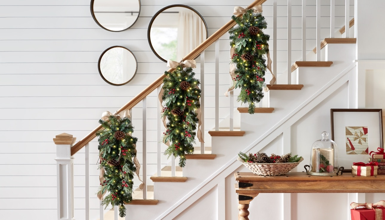 Image result for christmas decor on stairs