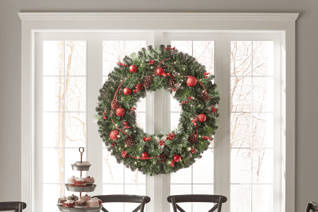 over 36 inches - Solar Powered Christmas Wreath
