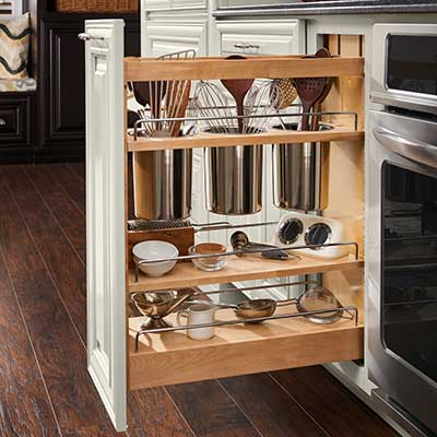 Full Kitchen Remodel. Plate Organizer. Slide Out Storage