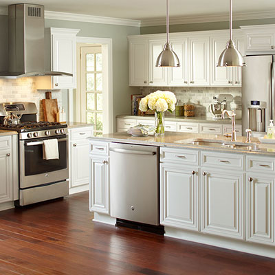 pictures of white kitchen cabinets with white appliances kitchens at the home depot 9885
