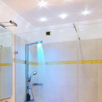 Use Damp Rated Recessed Lighting In Showers To Avoid Rust And Yellowing.