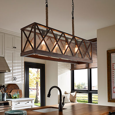 Kitchen lighting fixtures ideas at the home depot for Over island light fixtures