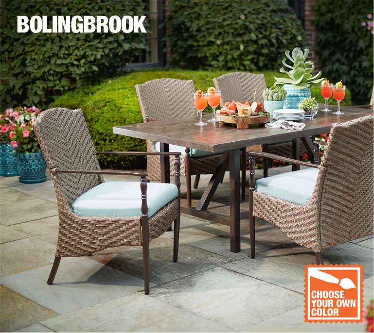 Patio furniture gallery at the home depot for Outdoor dining sets for small spaces