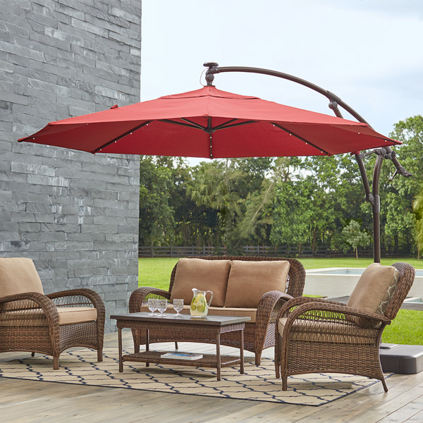 Outdoor Umbrella With Lights Patio umbrellas the home depot cantilever umbrellas workwithnaturefo