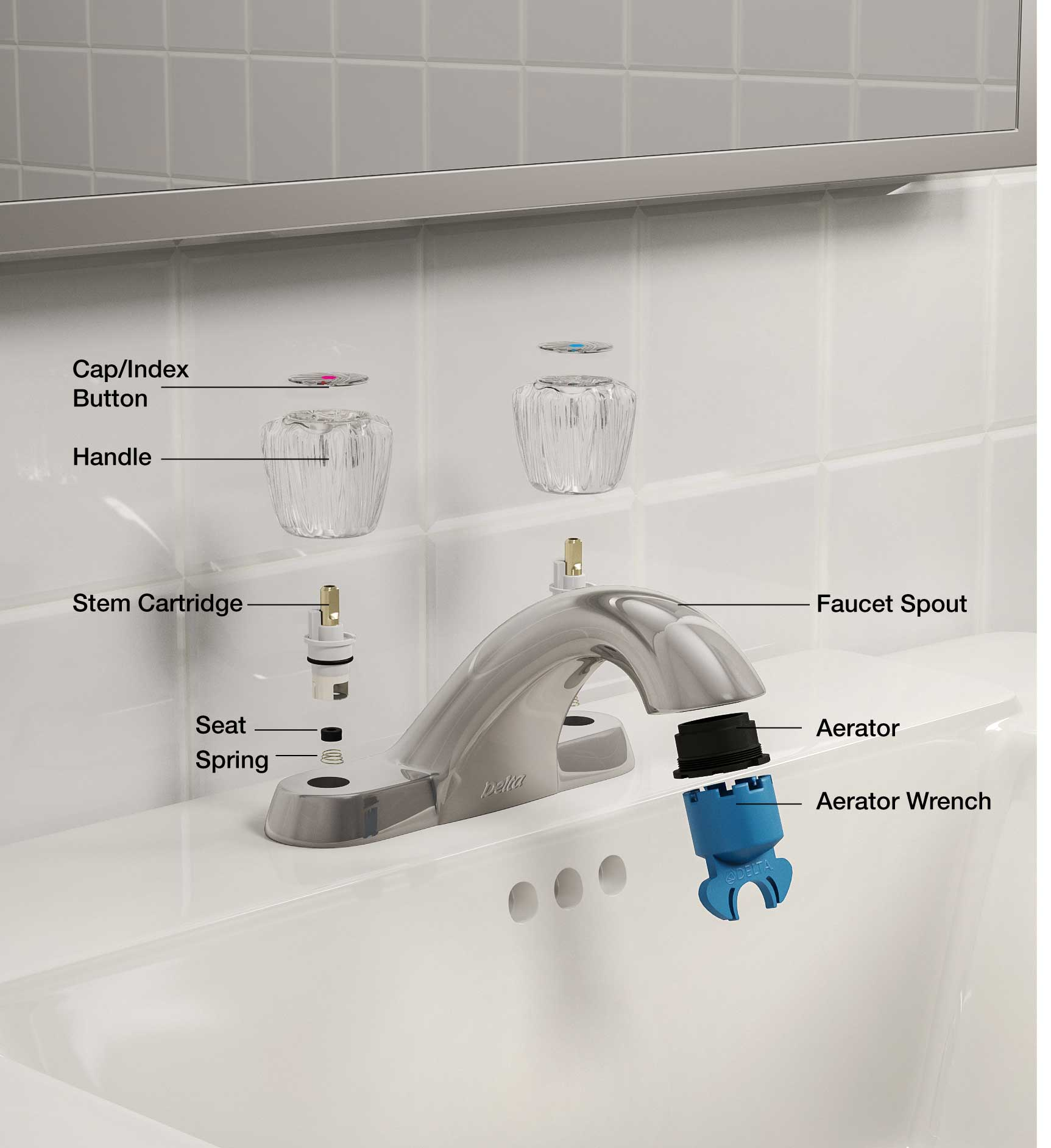 Faucet Parts & Repair Kits: Handles, Controls, & Caps