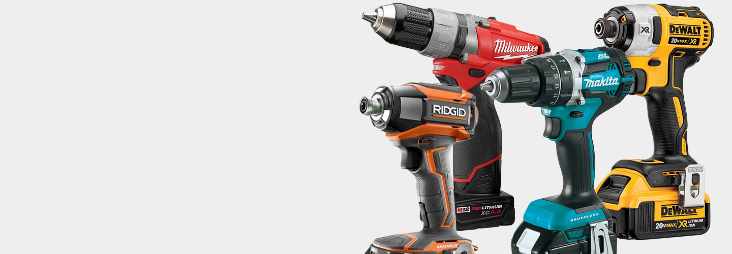 DeWalt, Makita, Milwaukee and RIDGID Drills