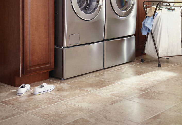 Upgrade Flooring And Backsplash Freshen Laundry Room Makeover