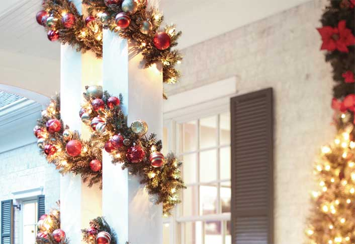 decorate your stairs columns decorate with christmas lights