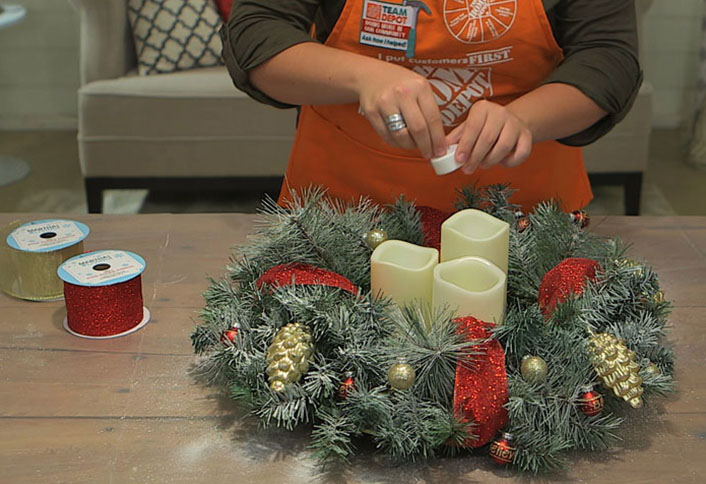 add decorations make christmas centerpiece