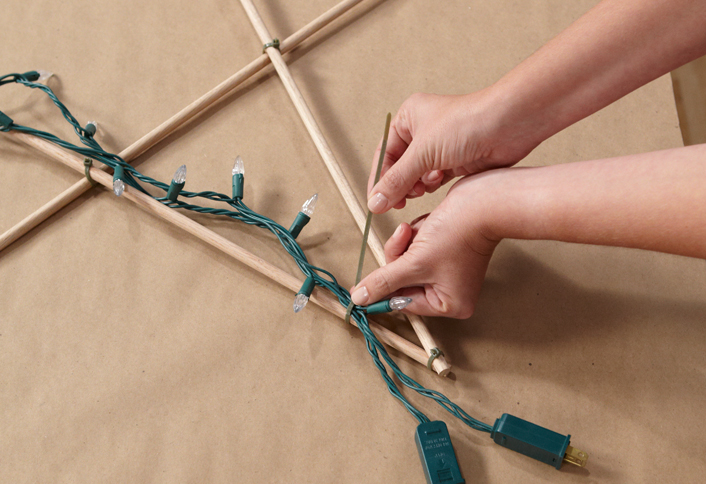 Drape string lights dowel - Make an Illuminated Star