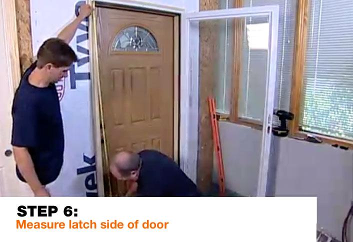 Measure latch side door cut Z-bar - Installing Storm Door & Guide to Installing a Storm Door at The Home Depot