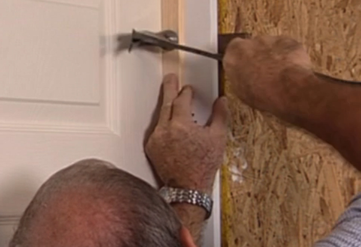 How to install interior door at the home depot nail door frame studs installing interior door planetlyrics Choice Image