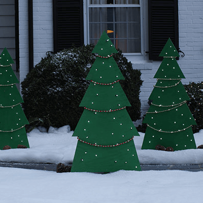 how to make holiday tree yard decor the home depot rh homedepot com how to build an outdoor christmas tree with a chicken wire cone
