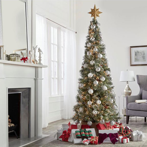 outdoor christmas decorations slim trees for small spaces - Slim Christmas Tree Decorating Ideas