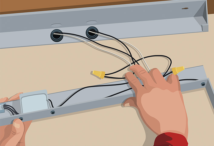 Installing under cabinet lighting at the home depot wire the lights under cabinet lighting aloadofball Image collections