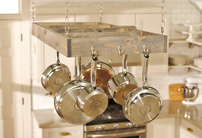 Build A Stylish And Functional Pot Rack To Hang In Your Kitchen