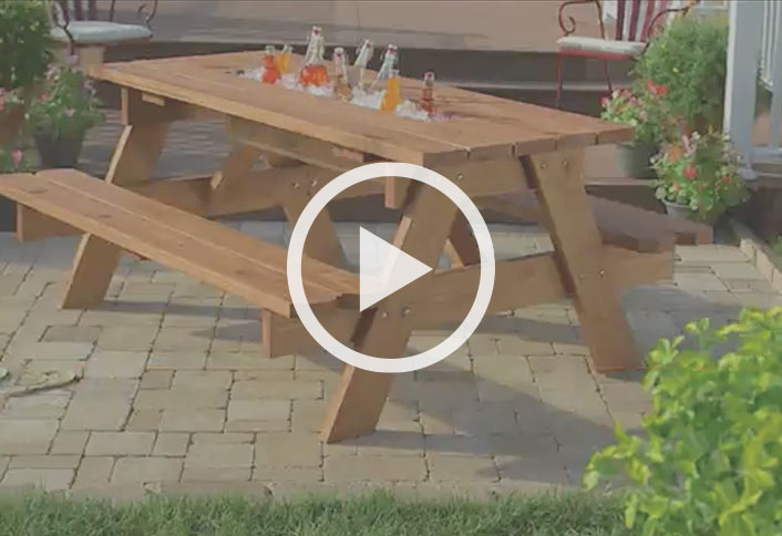 How To Build A Picnic Table With Builtin Cooler At The Home Depot - Treated lumber picnic table