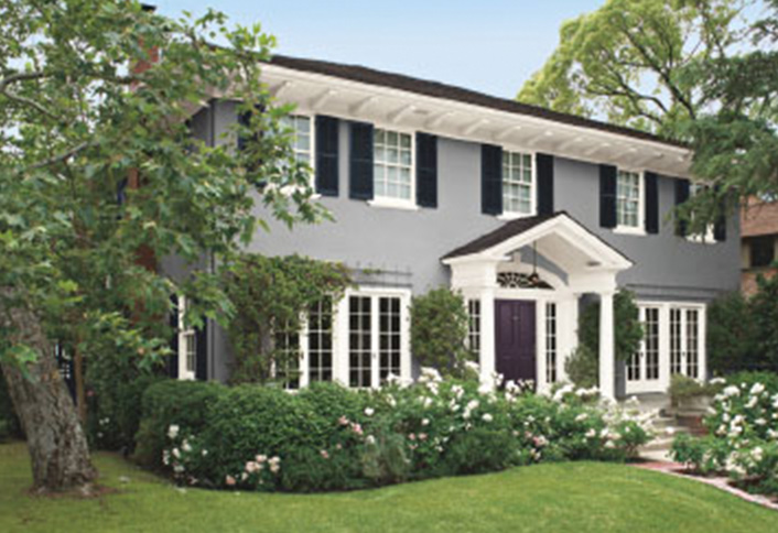 Colonial Homes Are Often Painted With A Bold Color Scheme Typically These In Dark This Case Medium Gray