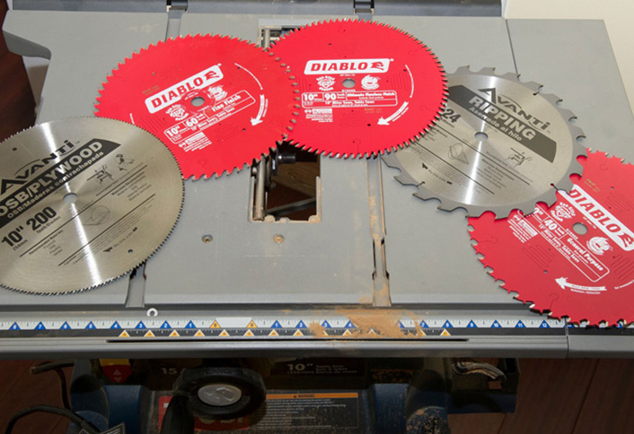 How to change the blade for your table saw at the home depot many modern miter saws come with blade stops these are small buttons that lock the blade into position and prevent turning during a blade change greentooth Gallery