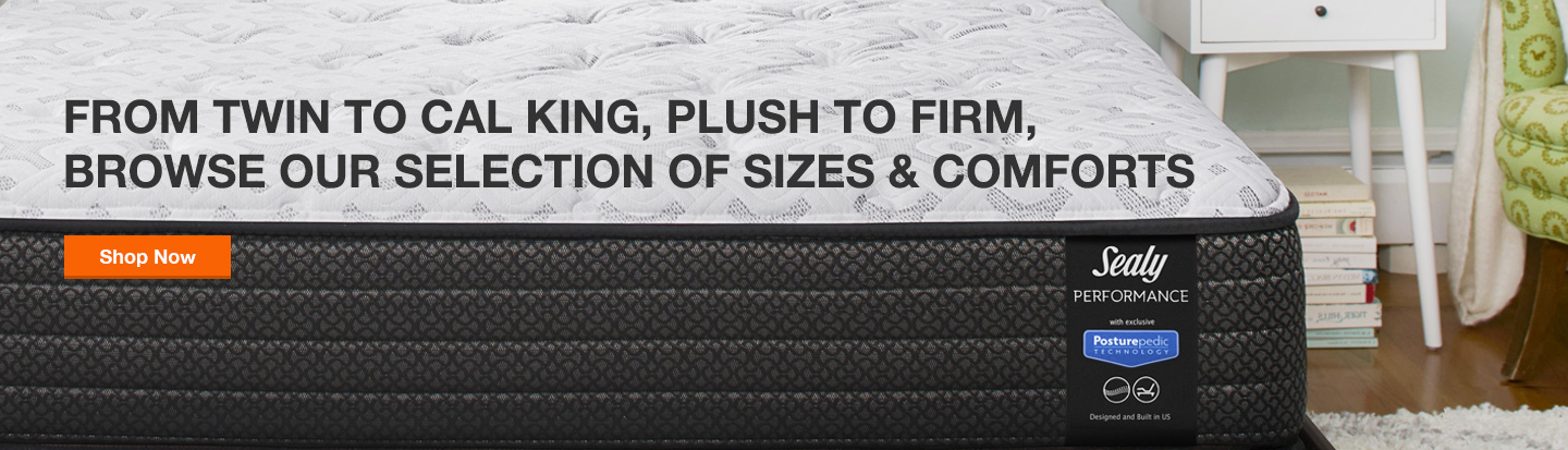 From twin to Cal King, plush to firm, browse our selection of sizes & comforts.