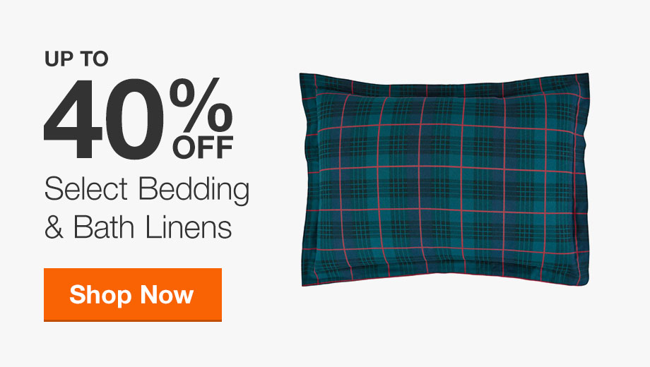 Up to 40% Off Select Bedding & Bath Linens