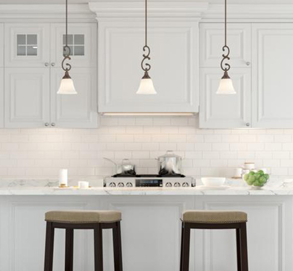 Modern White Kitchen With Island And Pendant Lights: The Home Depot