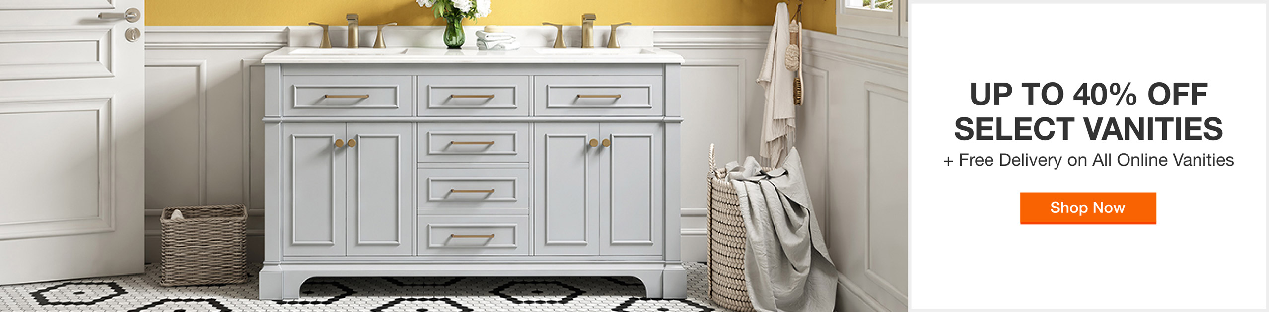 Up to 40% off select vanities plus free delivery on all online vanities