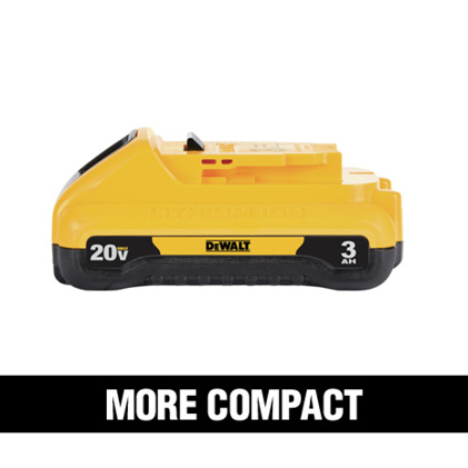 20 VOLT 1.3Ah, 1.5Ah, 2.0Ah and 3.0Ah feature a compact and Lightweight design.