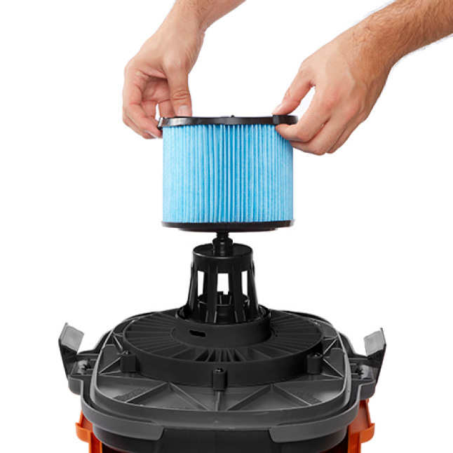 Detach the lid and place the motor upside down in the drum. Locate the filter cage.