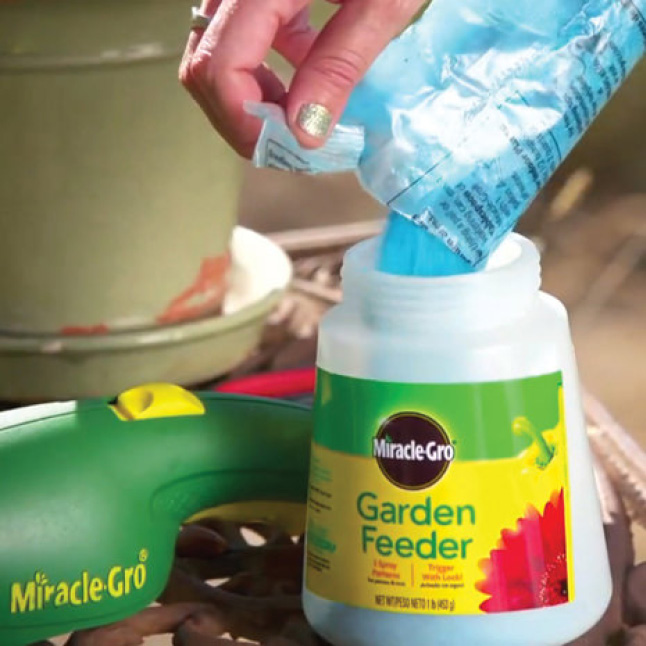 Filling feeder with Miracle-Gro Water Soluble All Purpose Plant Food