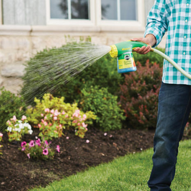 Watering in-ground plants with Miracle-Gro Garden Feeder