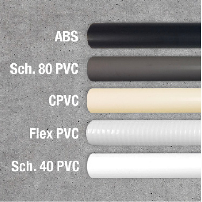 ABS, PVC, and CPVC pipes
