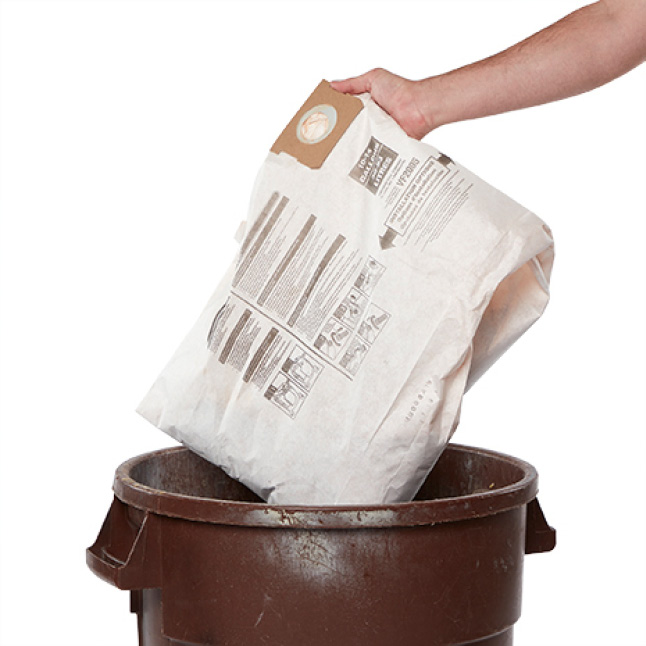 Emptying your wet/dry vacuum is as simple as throwing a bag away. No mess, no spill.
