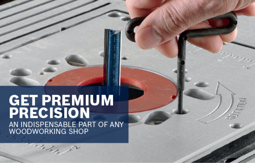 Close up of router table gauge. GET PREMIUM PRECISIOIN.