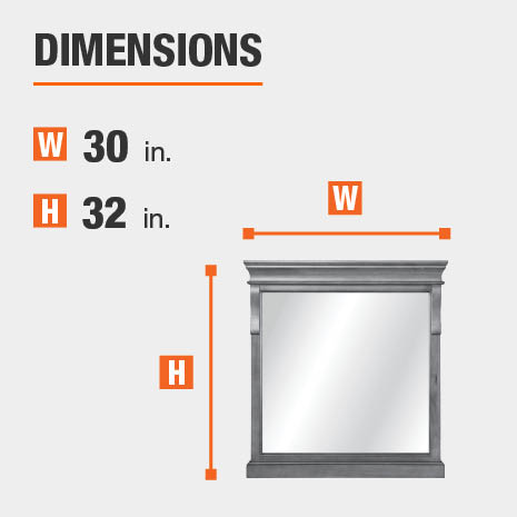 The dimensions of this bathroom vanity mirror are 30 in. W x 32 in. H